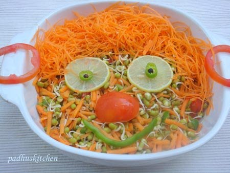 carrot salad-moong dal salad