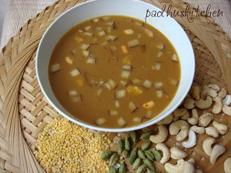 Pasi Paruppu payasam with coconut milk