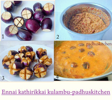 How to make ennai kathirikai-Ennai kathirikkai kulambu recipe