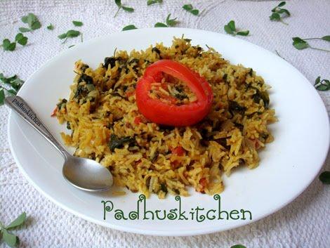 methi rice-fenugreek rice-methi pulao