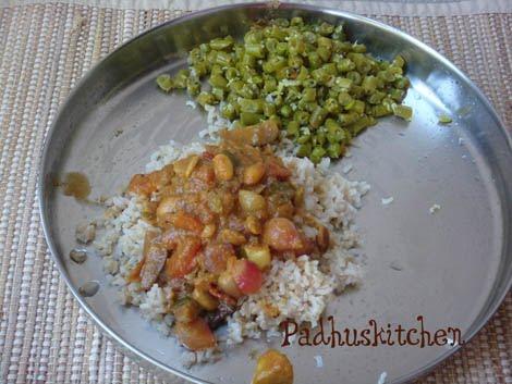 kara kulambu, beans poriyal and brown rice-Lunch menu