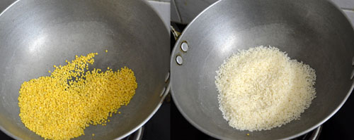 dry roasting dal and rice