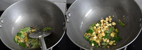 sauting ginger, peppercorns and jeera