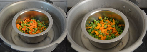 cook beans carrot and peas