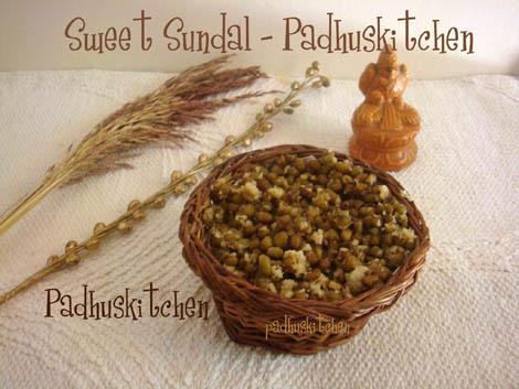 Sweet sundal-green gram sweet sundal