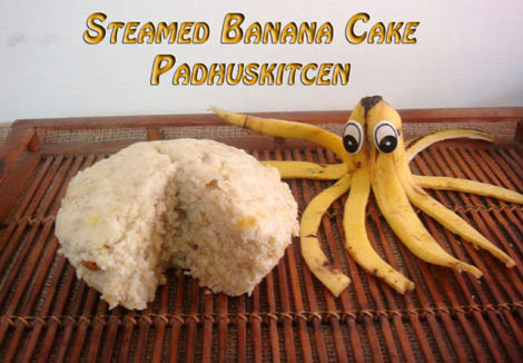 Eggless banana steamed cake