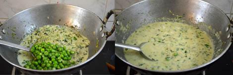 Methi muttar malai (white gravy)