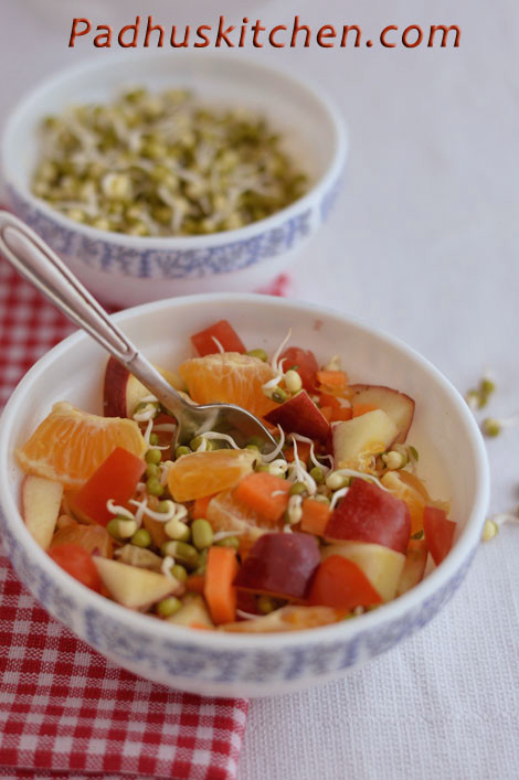 fruit salad with mung sprouts