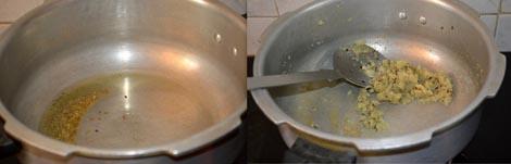 Sauteing ginger garlic paste
