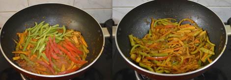 making paneer vegetable jalfrezi