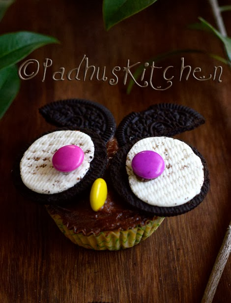 Owl Cupcake with Oreos