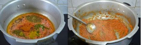 preparation of onion tomato gravy for lobia masala