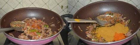 sauting onion for kadala curry