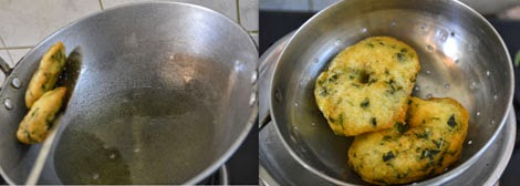 frying keerai vadai