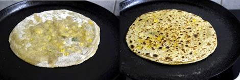 cooking dal paratha
