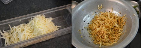frying grated potato