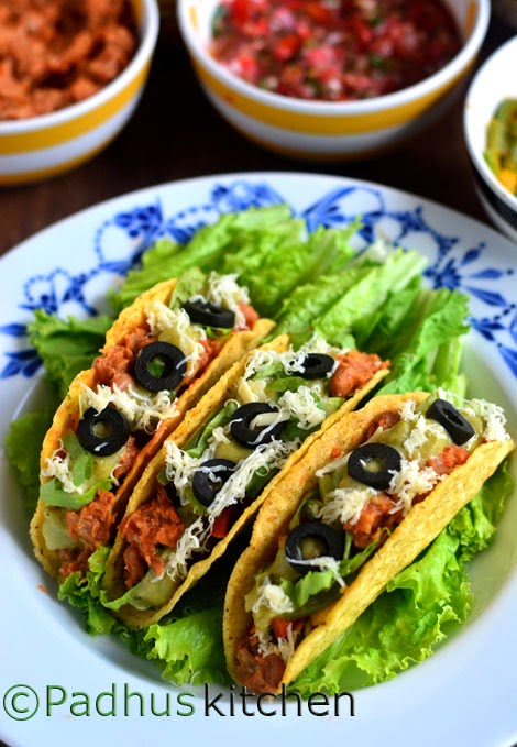 Mexican Tacos Recipe Vegetarian Mexican Tacos With Refried Beans Padhuskitchen