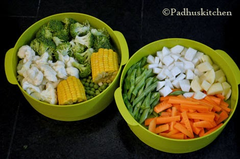 vegetables kept ready for steaming
