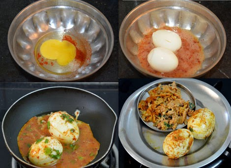 preparing eggs for egg biryani