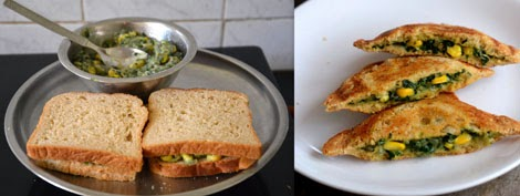Palak Corn Sandwich