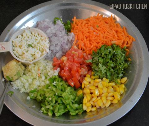 chopped vegetables for veg paneer masala bread toast