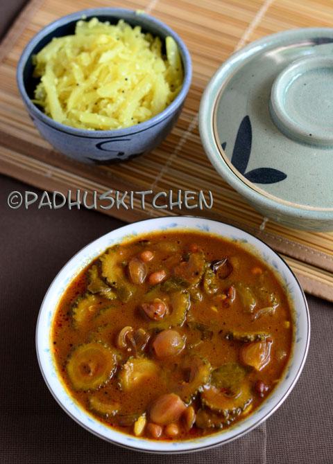 Bitter Gourd Kulambu-Pavakkai Puli Kuzhambu