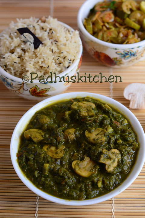 Palak Mushroom-Spinach Mushroom Gravy