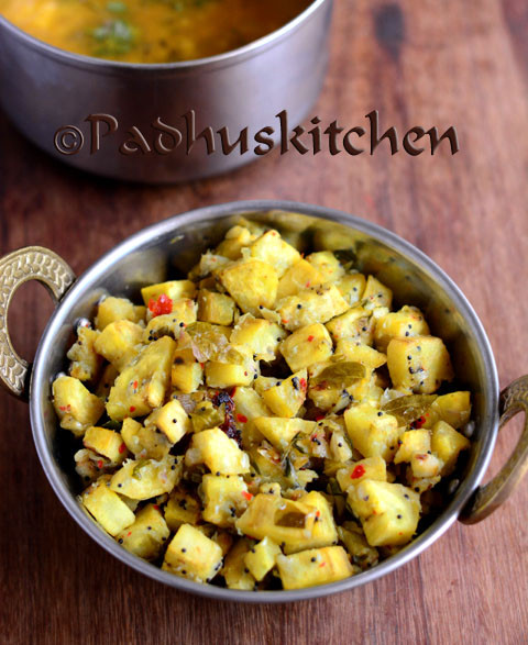 Vazhakka Mezhukkupuratti-Kerala Style Raw Banana Stir Fry