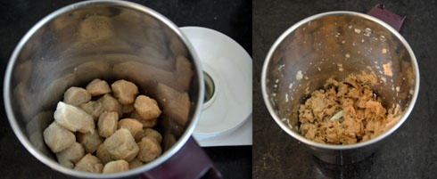 grinding cooked soya chunks