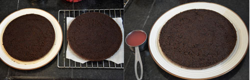 assembling the cake for black forest