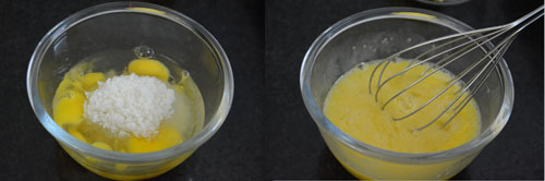 whisking eggs and sugar