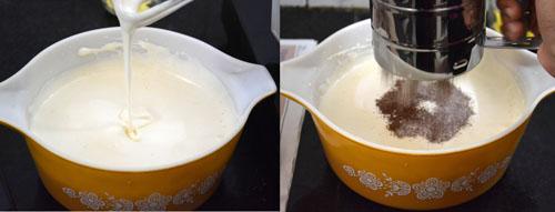 adding flour to egg mixture