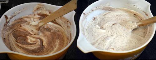 mixing flour into the egg mixture