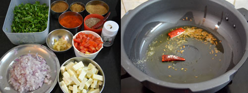 Ingredients for methi paneer