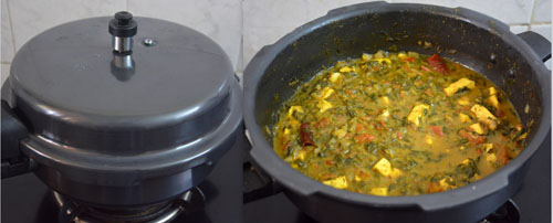 methi paneer gravy in pressure cooker