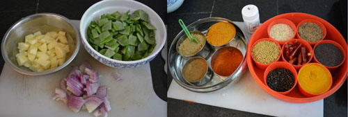 ingredients for avarakkai curry