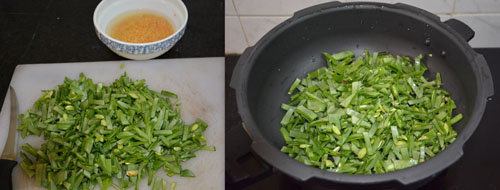 chopped broad beans-avarakkai