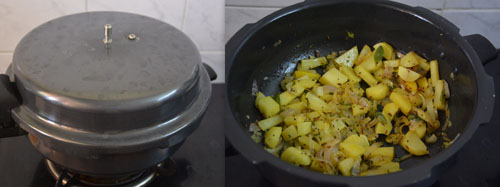 how to make cabbage potato curry in a pressure pan