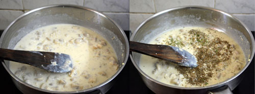 creamy mushroom pasta in white sauce
