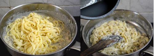 Creamy Mushroom Tagliatelle Pasta in white sauce