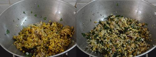 Drumstick Leaves Banana Flower Stir Fry Recipe