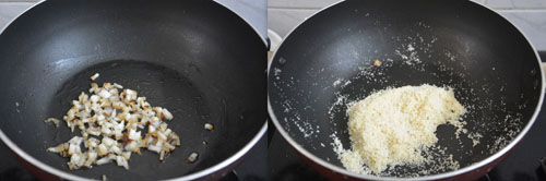 frying coconut bits and rava separately
