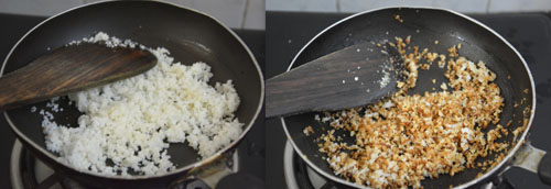 sauteing grated coconut