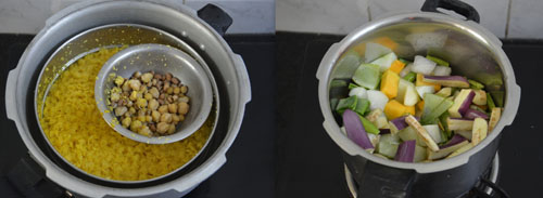 cooked dal and vegetables