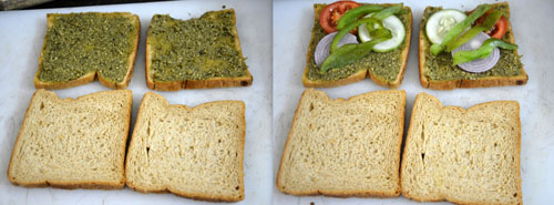 pesto vegetable sandwich toast