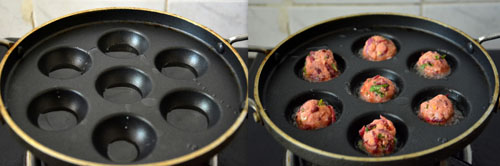 Beetroot Kola Urundai in paniyaram pan-healthy snacks