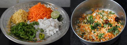 Carrot Moong Dal Salad-Karnataka Style