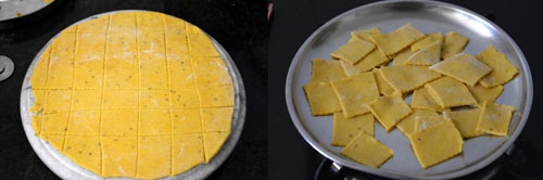 dhokli cut into squares