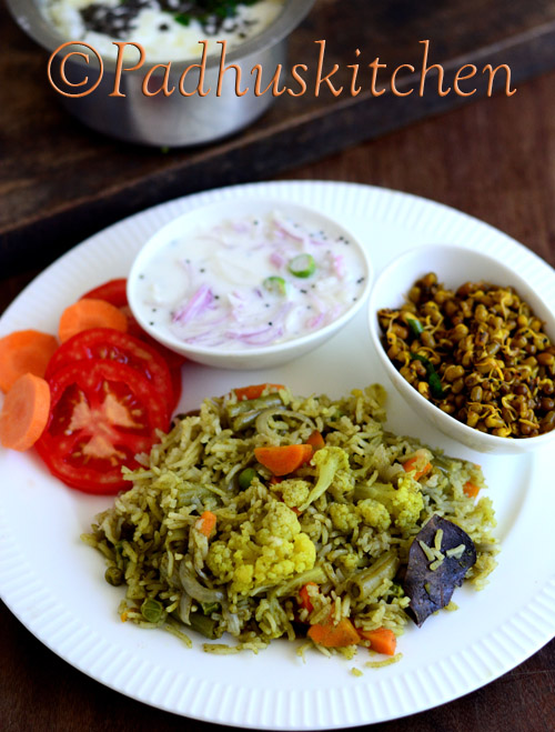 Green Pulao with coconut milk