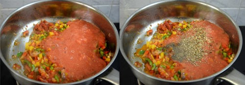 pasta in red sauce with vegetables